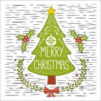 Kostenlose Hand gezeichnete Vektor-Weihnachtsbaum-Illustration vektor
