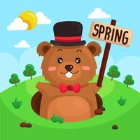 Netter Gopher, der Frühlings-Vektor signalisiert
