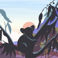 Schattenbild des Koala in einem Gummi-Baum Vectr vektor
