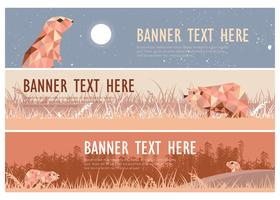 Gopher Illustration Webbanner Pack Vector