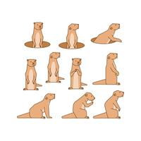 Gratis Gopher Line Icon Collection Vector