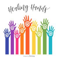 Färgrik Reaching Healing Hopi Hands Vector Design