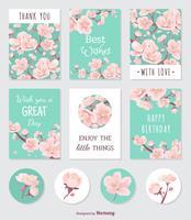 Kort och klistermärken med persikaträd Blomning