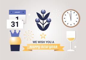 Freie flache Design-Vektor-Elemente des neuen Jahres vektor