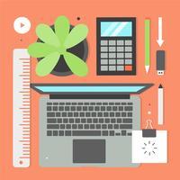 Freie flache Design-Vektor-Büro-Elemente und Ikonen