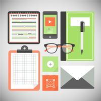 Freie flache Design-Vektor-Büro-Elemente