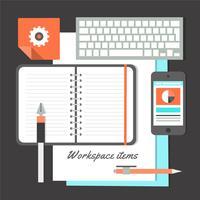 Freie flache Design-Vektor-Arbeitsplatz-Elemente vektor
