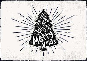 Kostenlose Hand gezeichnete Weihnachtsbaum-Vektor-Grußkarte