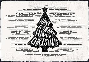 Kostenlose Hand gezeichnete Weihnachtsbaum-Vektor-Grußkarte vektor