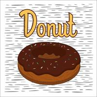 fri hand dras vektor donut illustration
