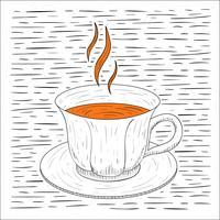 Fri handdragen Vector Hot Tea Illustration