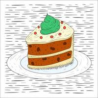 Kostenlose Hand gezeichnete Vektor-Kuchen-Illustration vektor