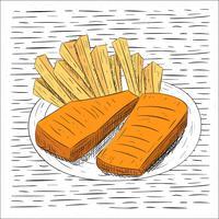 fri räcker ritad vektor mat illustration