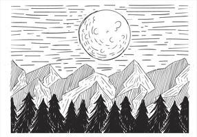 Fri handdragen vektor landskaps illustration