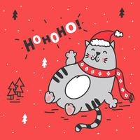 Fette Katze Weihnachtskarte vektor