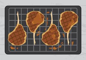 Köstliche Kalbfleisch-Steaks auf Grill-Vektor