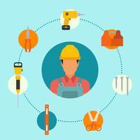 Flache Bauarbeiter-Vektoren vektor