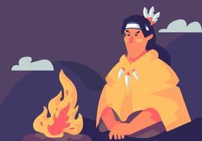 shamans eldläger vektor