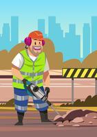 Arbetare med pneumatisk hammarborr