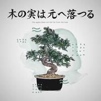Japanische Buchstaben Zitate mit Bonsai-Baum-Vektor-Illustration