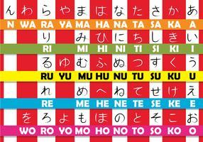 Hiragana japanska bokstäver vektor