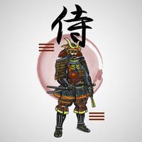 Japanischer Buchstabe-Samurai mit abstrakter Element-Vektor-Illustration vektor