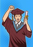 Aufgeregter junger Mann mit Diplom-Vektor vektor