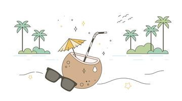 Freier Kokosnuss-Wasser-Vektor