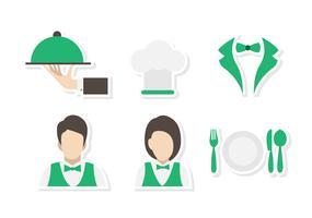Flache Kantine Kellner und Kellnerin Vektoren