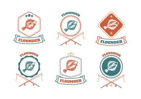Flunder Fisch Badge Vector Collection