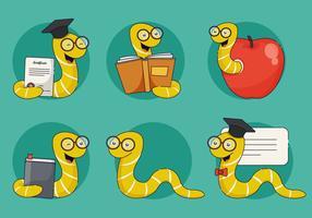 Bücherwurm-Charakter-Vektor-Illustration
