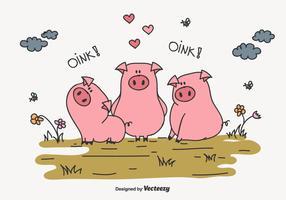 Tre Little Pigs Vector Illustration