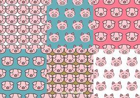 Schwein Gesicht Muster Set vektor