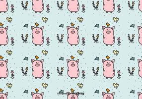 Schwein und Vögel Vektor Muster