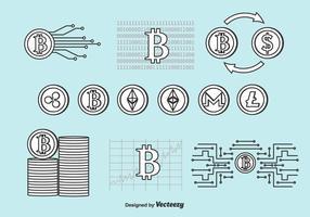 krypto-valuta vektor uppsättning