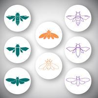 Cicada ikon vektor uppsättning
