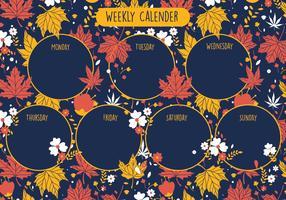 Botanisk utskrivbar vecka kalender vektor