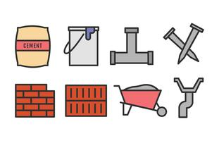 Byggnadsmaterial Icon Set