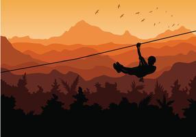 Sonnenuntergang-Zipline-Dschungel-freier Vektor