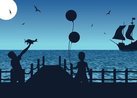 Boardwalk-Schattenbild-freier Vektor
