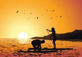 Paddleboard-Sonnenuntergang-freier Vektor