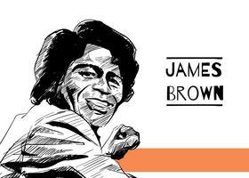 Hand gezeichnetes James Brown Free Vector