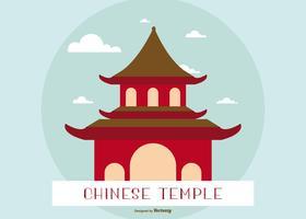 Flat illustration av ett kinesiskt tempel / helgedom