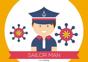 Gullig Sailor Man Illustration