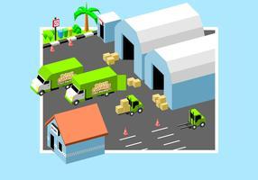 Beweglicher Van In Factory Free Vector
