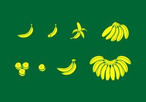 Bananen-feste Ikone geben Vektor frei