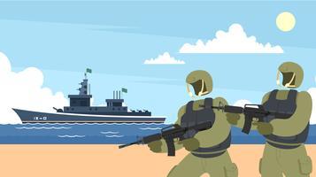 Navy sälar och krigsfartyg fri vektor
