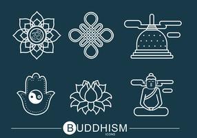 Buddhismus-Ikonen-Vektor-Satz vektor