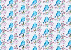 Freies Vektor-Muster mit gemaltem Vogel auf Blumenniederlassung