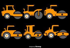 Vektor-Satz Steamroller-flache Ikonen